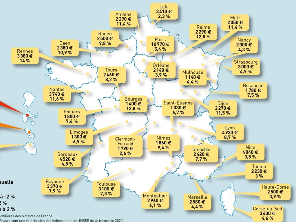 Le prix de l'immobilier au m² en France